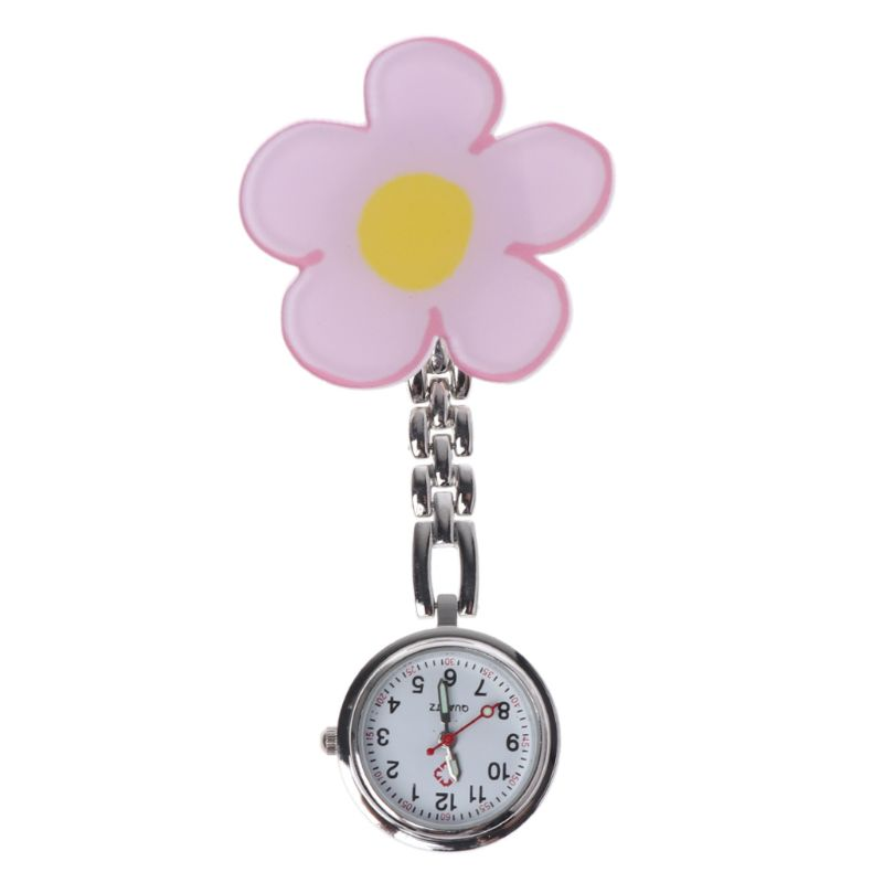 Nurse Watch Flower Floral Fashion Medical Hospital Pocket Watches Hang Clip Portable Acrylic Vintage Round 3D Cartoon Supplies