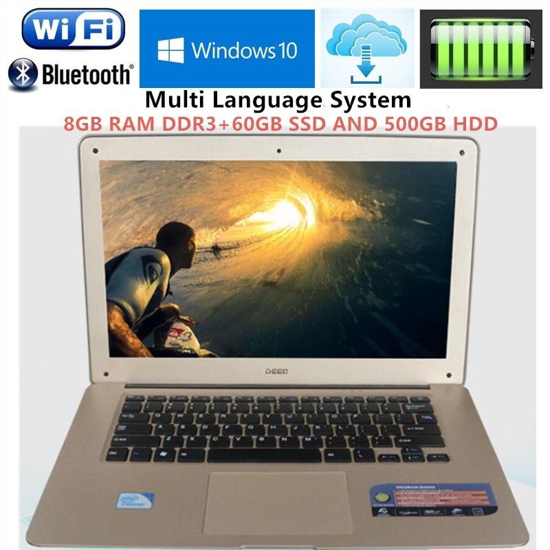 Ultrabook 14.1 screen 1920x1080P Laptops Pentium N3520 Quad Core 2.16GHz 8GB RAM+60GB SSD+500GB HDD USB 3.0 Port on for SALE