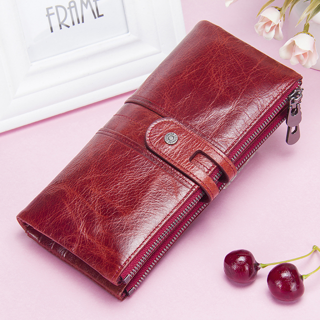Women Purses Long Zipper Genuine Leather Ladies Clutch Bags With Cellphone Holder High Quality Card Holder Wallet 5