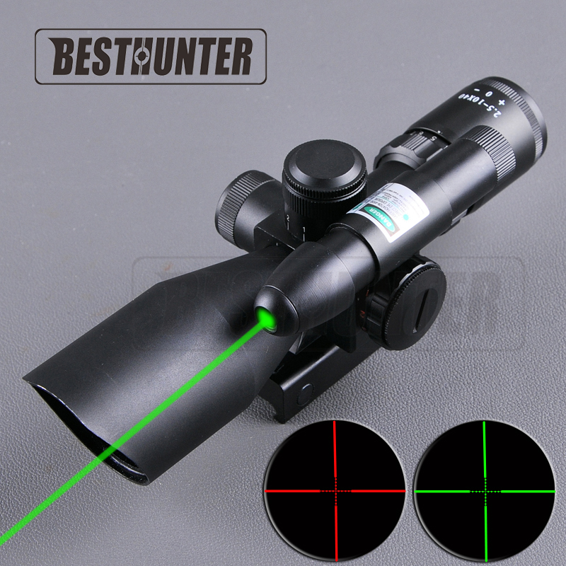 2016 New Riflescope 2.5-10x40EG Scope Mounts Green Dot Tactical Hunting Scopes Airsoft Air Rifles Reticle Crosshair Optic 4x magnifier scope fts flip to side for aimpoint or similar scopes sights for airsoft hunting