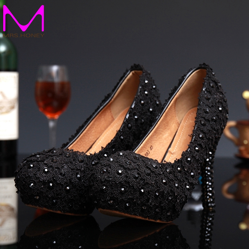 New Arrived Sweet Black Lace Flower Bridal Wedding Dress Shoes Rhinestone High Heels Ladies Summer Shoes Pluse Size 34 – 43