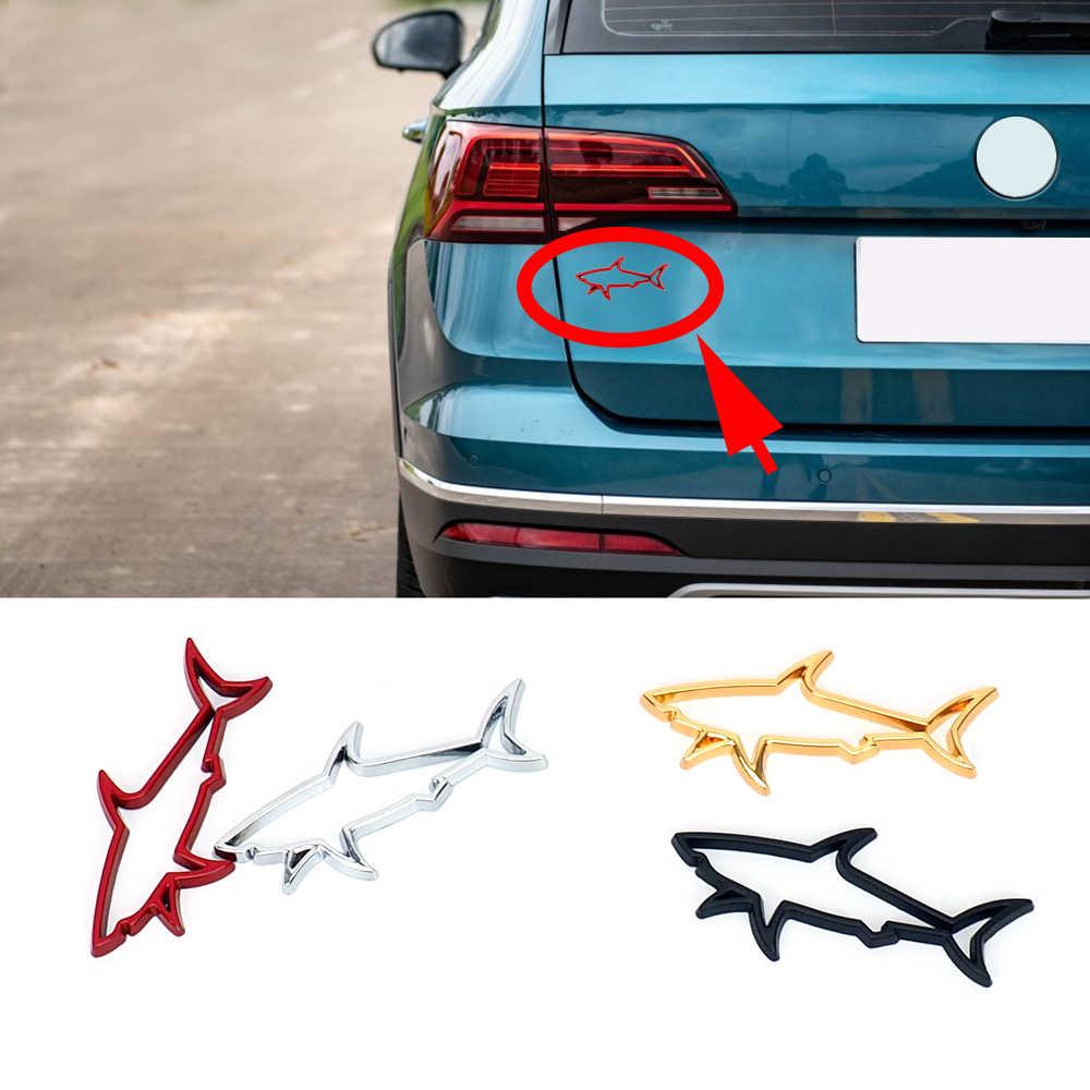 金属魚のサメ銘板バッジロゴのりステッカーカースタイリングドア窓フードトランククリエイティブトリムユニバーサルアクセサリー