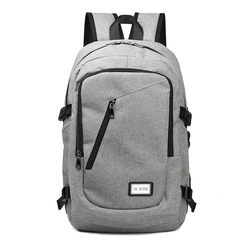 Computer Laptop USB Charging Backpack School Bag Pack Adult Student Bag Business Backpack Male Unisex Waterproof Travel Backpack 1