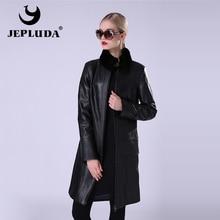 JEPLUDA Genuine Leather Jacket Women Real Sheepskin Leather Coat Stand Collar Rex Rabbit Fur Detachable Jacket Genuine Leather