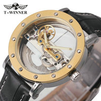 2017 WINNER Classic Golden Bridge Mens Auto Mechanical Watch Silver Stain Steel Strap Top Luxury Brand