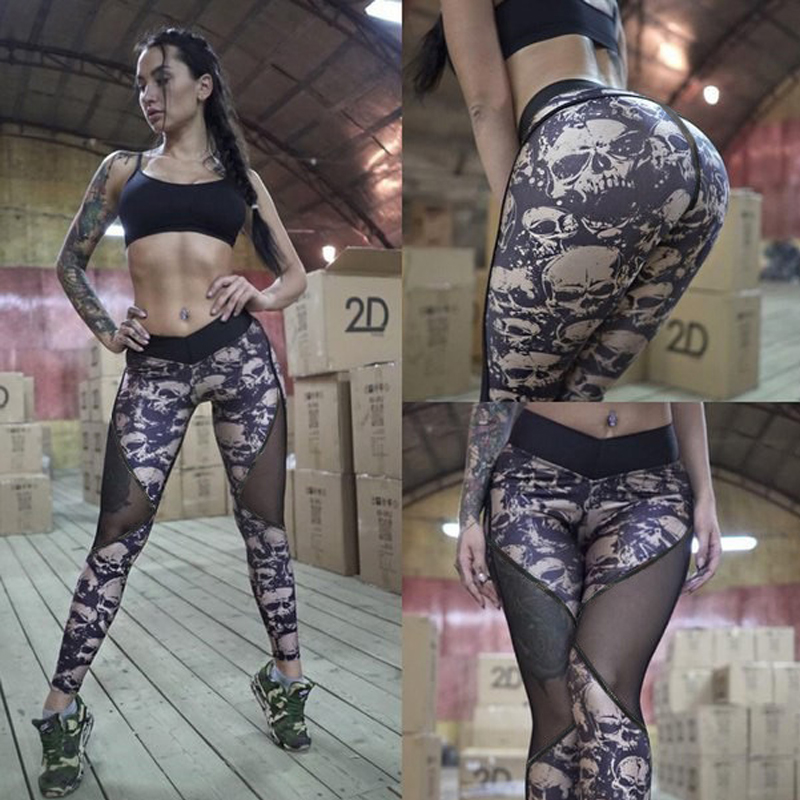 NORMOV Summer Mesh Skull   Leggings   Women Push Up Workout Printed   Legging   Femme Casual Patchwork   Leggings   2 Color S-XL