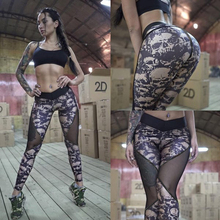 NORMOV Summer Mesh Skull Leggings Women Push Up Workout Printed Legging Femme Casual Patchwork Leggings 2 Color S-XL