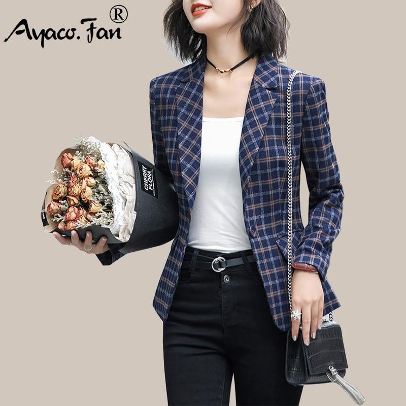 New Autumn Winter Women Plaid Blazers Elegance Fashion Slim Notched Pockets Full Sleeve Single Button Coats Vintage Outwear 4XL