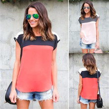 Sleeveless O-Neck T-Shirt Women Tops Tee Shirt Femme Striped Patchwork Shirt Plus Size 2019 New Womens Clothes Free Shipping недорого