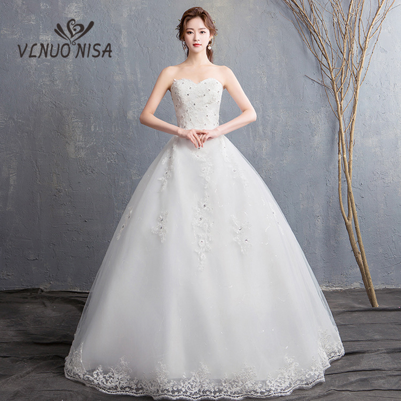 VLNUO NISA Elegant Sexy Strapless Lace Wedding Dress Delicate Appliques Bridal Gown Customized Plus Size Cheap Vestidos De Noiva