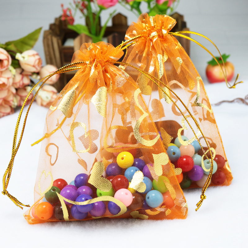 200pcs small organza bags 7x9cm orange gift bag wedding christmas gifts candy jewelry packaging bag heart print organza pouches - Small Christmas Gifts