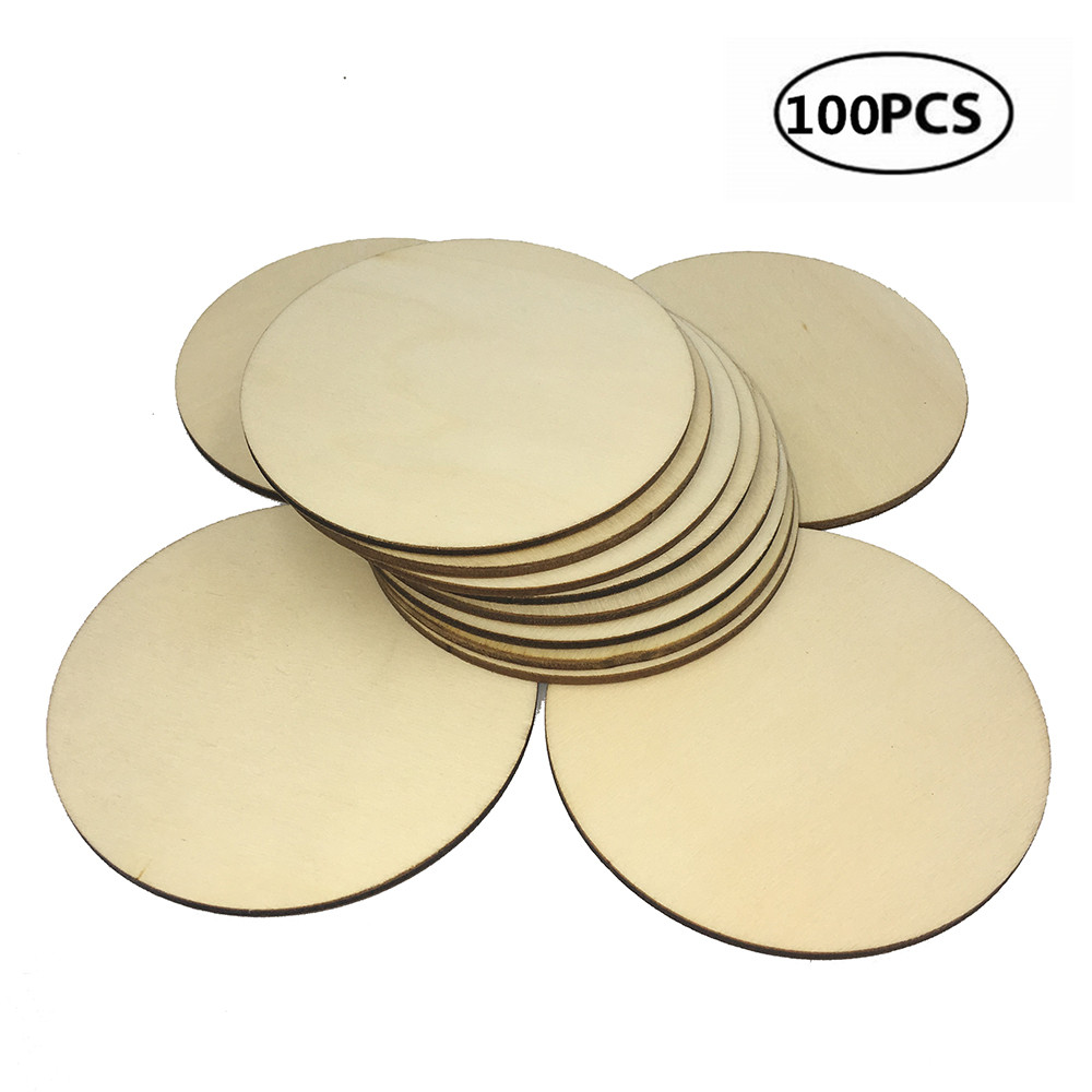 30 LASER CUT MDF WOODEN DISCS CIRCLES 8 cm with 2 holes 3mm Card Embellishment