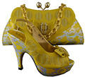 2015 New African Shoes And Bag Sets For Wedding,Africa Nigeria for Women's Wedding Shoes For Party,B8013 Yellow color.