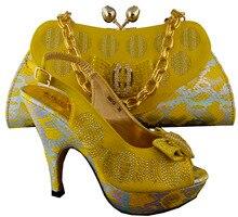 2015 New African Schuhe Und Tasche Sets Für Hochzeit, Afrika Nigeria für frauen Hochzeit Schuhe Für Party, B8013 Gelbe farbe.