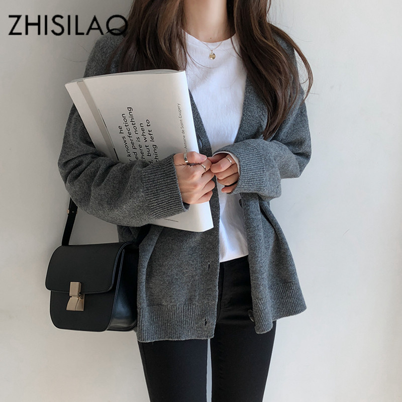 ZHISILAO Solid Sweater Cardigan Feminino Cashmere Woman Poncho Female Coat Soft Knitted Cardigan Casual Pull Femme Outerwear