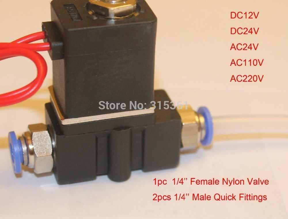 """Electroválvula Solenoide tracción manual 1//4/""""PT rosca w Adaptador 6mm diám"""