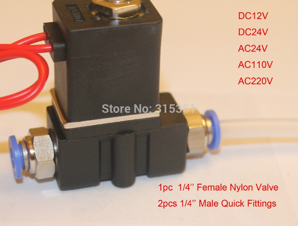 Free Shipping Female 1/4'' Solenoid Valve Plastic Air Water Gas 24v Volt w 1/4'' Male Push Connect Fittings