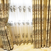 Free Shipping! European style luxury flocking embossed embroidery peony floor room Curtain.