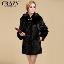 New 2016 Women Plus Size Women Clothing  5XL 4XL Fashion Middle Long Luxury Fake Mink Fur Coats Black White Faux Fur Coat