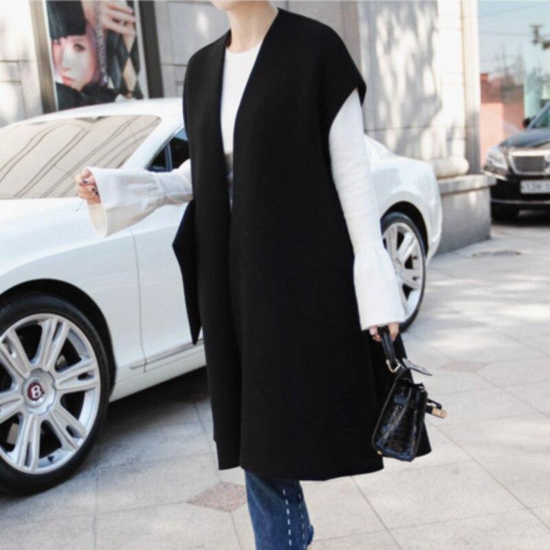 DEAT 2018 New Korean Fashion Women Clothes Loose Over Coat Sleeveless V neck Drop shoulder Open
