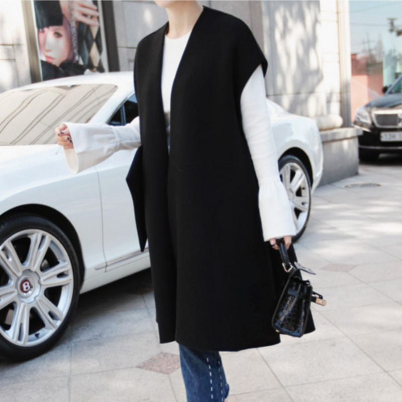 DEAT 2018 New Korean Fashion Women Clothes Loose Over Coat Sleeveless V-neck Drop-shoulder Open Stitch Female Vest WB15801