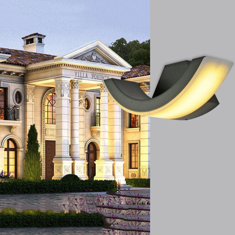 ФОТО 1pcs/lot LED Waterproof Outdoor Modern Wall Light Mounted 8W AC90-260V IP54 Aluminum Wall Lamp Outdoor Porch Garden Lighting