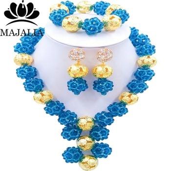 c053fcf4e226 Azul marino de moda nigeriana boda Africana cuentas de joyería conjunto de cristal  collar pendientes pulsera conocida majalia una marca bien 1032