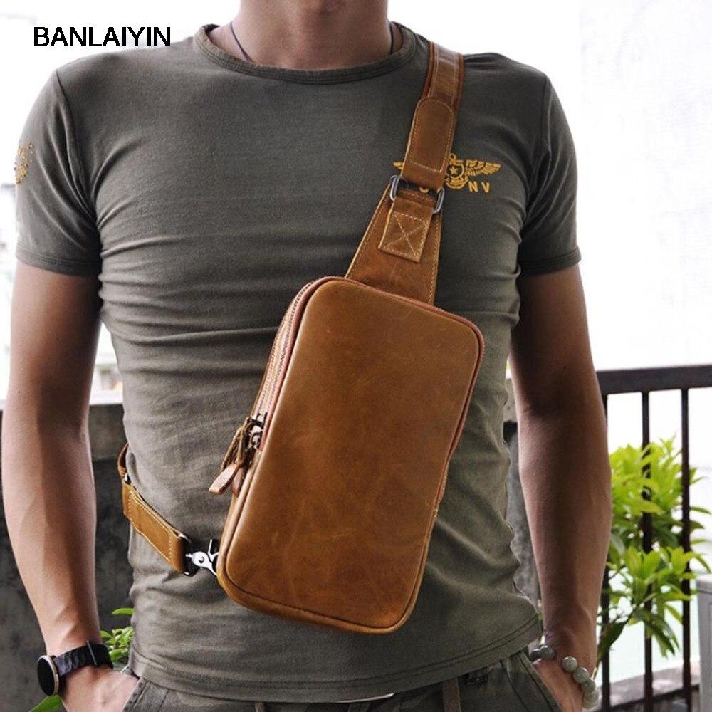 Men Oil Wax Genuine Leather Cowhide Fashion Travel Sling Chest Back Pack Riding  Messenger Single Shoulder Bag