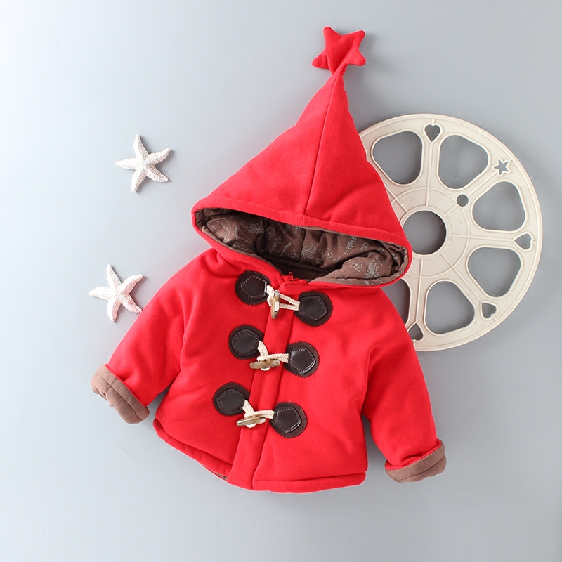 Fashion Solid Color Red Gray Coat for Children Boys Girls Cotton Outerwear Jacket Girl Winter Clothes