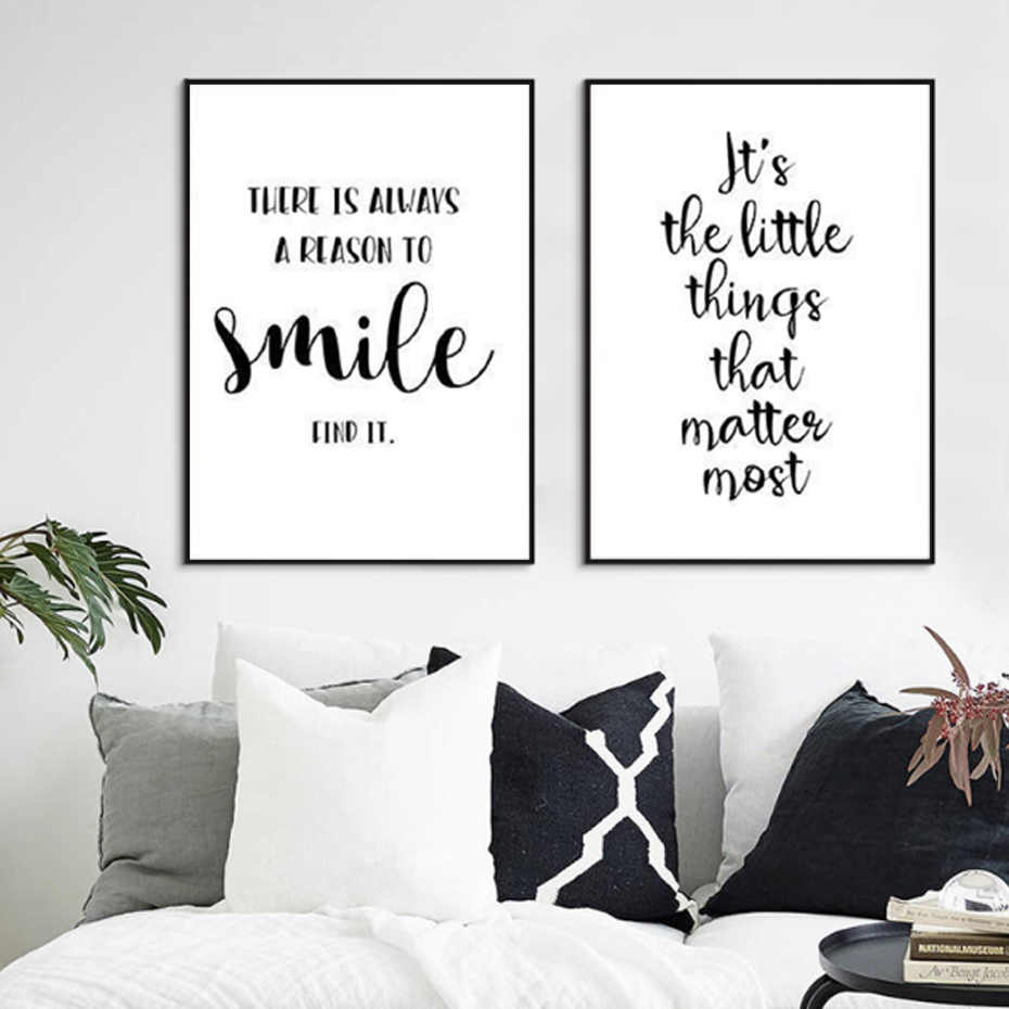 Black and white inspirational quote positive smile canvas painting nursery art posters prints wall pictures kids