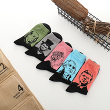 Cotton Men Fashionable Funny Crew Socks Autumn Winter Bursting Antique Literature Character Figure Head