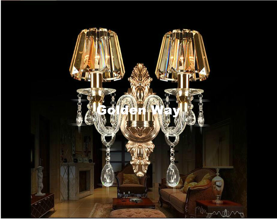 Free Shipping European Modern 1 Arm and 2 Arms Crystal Bedroom Wall Lamp Crystal Sconce K9 Crystal Wall Lamp AC 100% Guaranteed 2 color guaranteed 100