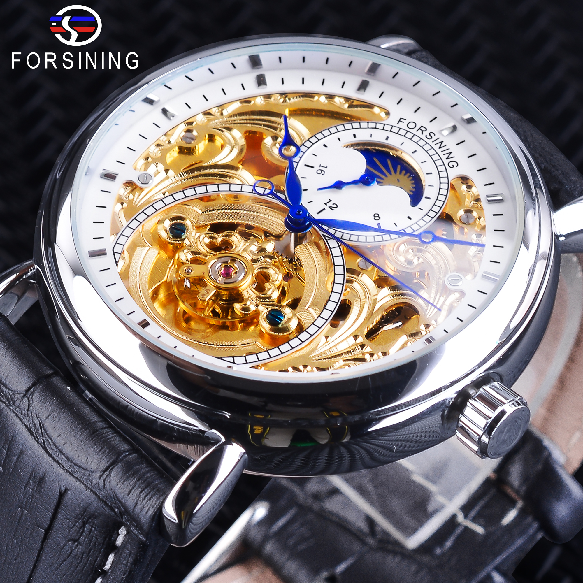 Forsining White Golden Skeleton Watches Fashion Blue Hands Men's Automatic Watches Top Brand Luxury Black Genuine Leather Band forsining design fashion hollow out watches skeleton automatic wristwatch top luxury brand genuine leather band mechanical clock