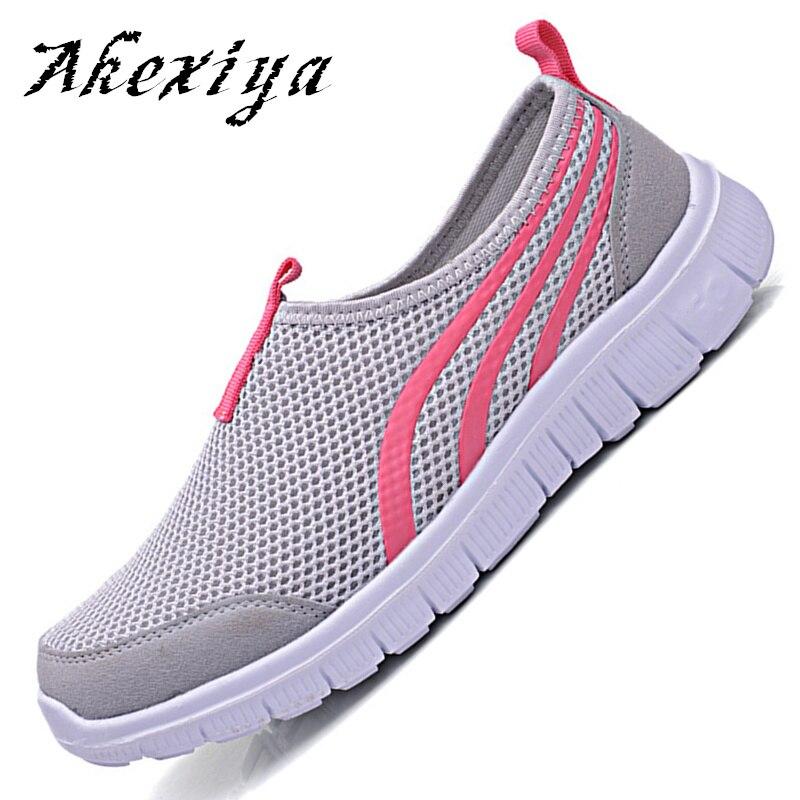 Akexiya Brands 2017 NEW Fashion Women casual shoes, Cheap Walking Men's flats Shoes men breathable Zapatillas Casual Water
