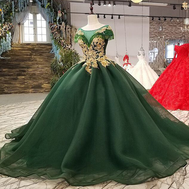 Luxury Long Green Ball Gown Arabic Dubai Muslim Colored