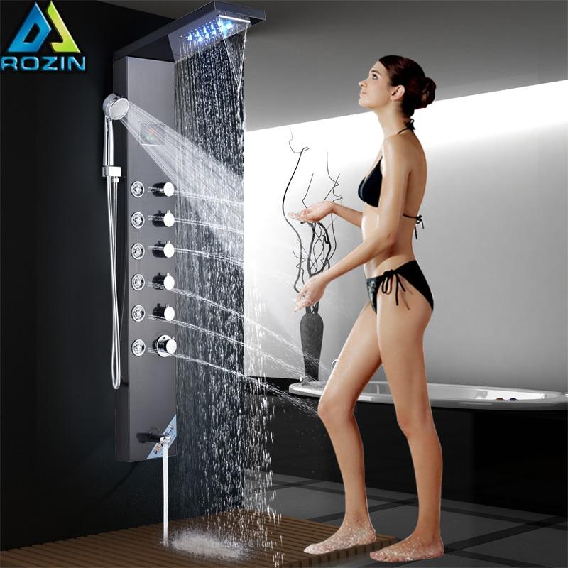 цена на Temperature Digital Screen Shower Column Tower Stainless Steel LED Shower Panel System Rain Waterfall Showerhead SPA Massage Jet