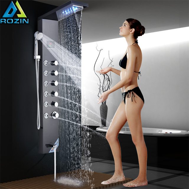 Temperature Digital Screen Shower Column Tower Stainless Steel LED Shower Panel System Rain Waterfall Showerhead SPA Massage Jet