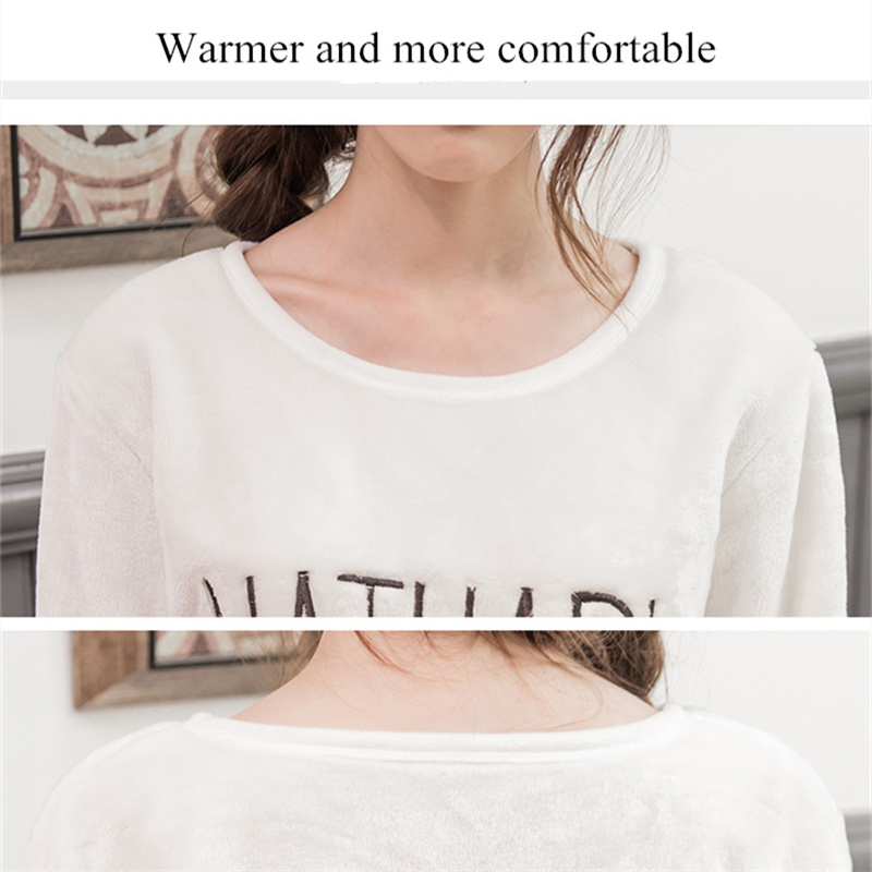 2PCS/Lot Autumn Winter Thick Women Pyjamas Sets Sleepwear Suit pajamas Flannel Warm Cartoon Animal Cute Pijama Bear Sleepwear 32