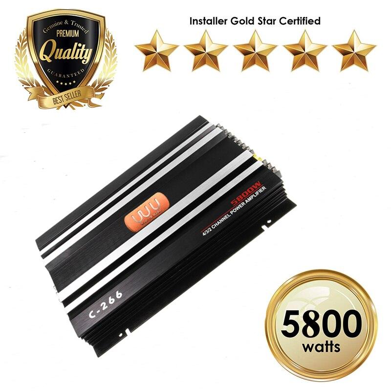 Noir amplificateurs de voiture 5800 W 4 Canaux classe ab MOSFET Amp 4 Ohm En Aluminium Stable amplificateur audio Subwoofer De Voiture Pièces