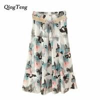 2018 New Fashion Ladies High Waist Thin Skirt With Belt Boho Summer Casual Linen Flower Long
