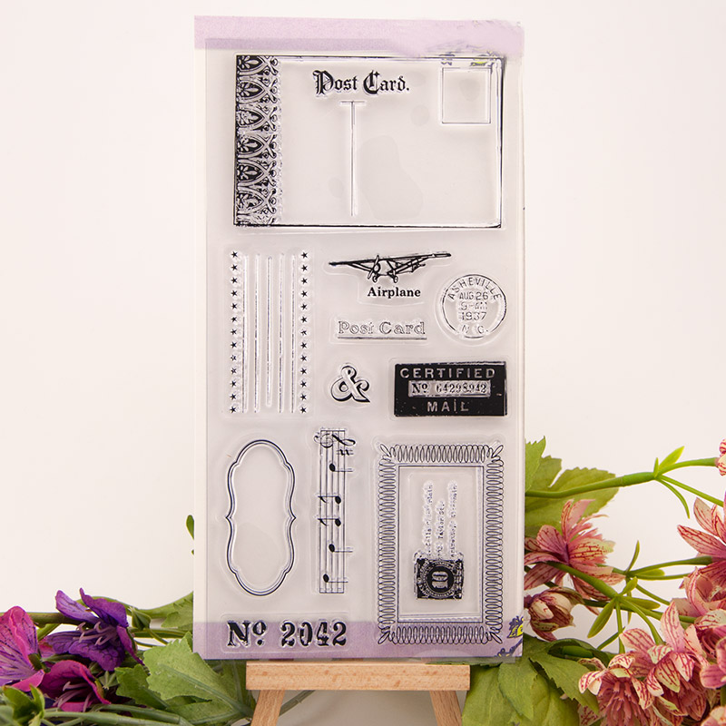 Craft Vintage Airplane Post Card Transparent Clear Silicone Stamp for Seal DIY Scrapbooking Photo Album Decorative Clear Stamp