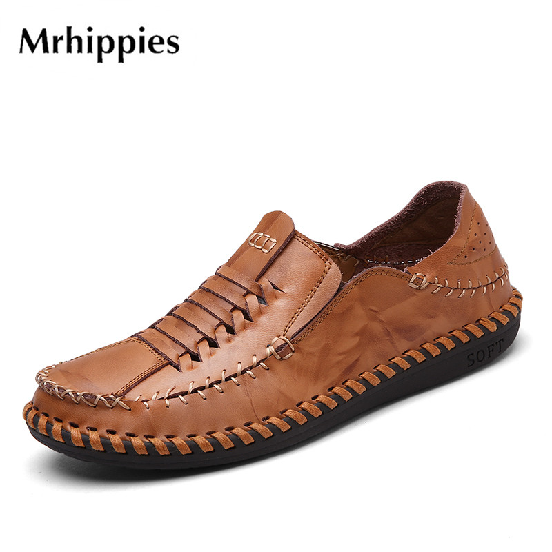 mrhippies Handmade Men Flats Shoes Anti Slip Loafers Moccasins Genuine Leather Casual Driving Shoes,Soft And Massage Men Shoes handmade genuine leather men s flats casual haap sun brand men loafers comfortable soft driving shoes slip on leather moccasins