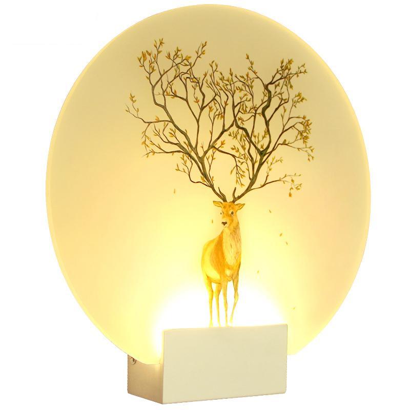 Nordic Creative BedroomWall Lamp Circular Bedside Led Lighting Corridor Acrylic Art Sconce Wall Lights
