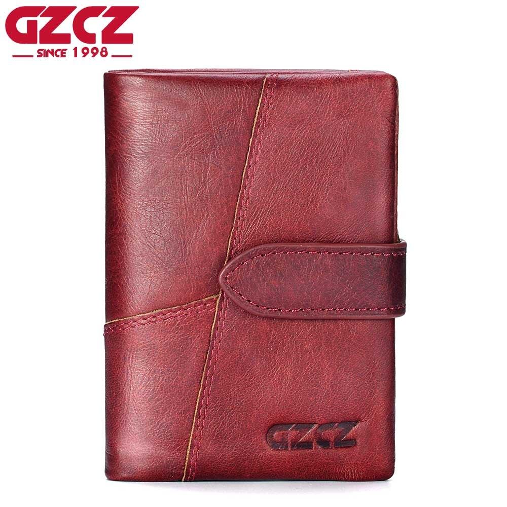 GZCZ 100% Genuine Leather Women Wallet Female Luxury Brand Portomonee Woman Walet Clamp For Money Ladies Purse Zipper Design