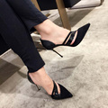2016 New Spring Women's Pumps Pointed Toe Cut-Outs High-heeled Shoes Woman Black Thin Heels Sexy OL Women's Office Shoes Sandals