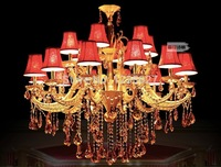 Free Shipping Luxury Crystal chandelier Royal K9 Crystal Chandelier With Red Lampshade Silver Chandelier Hotel Indoor Chandelier