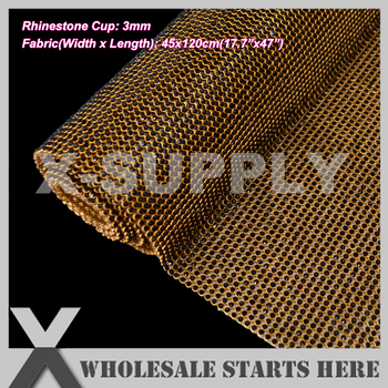 3mm Iron On Rhinestone Mesh Trim,Black Rhinestone in Gold Metal Base,Used for Shoes,Bags,Garment,Jewelry Decorations