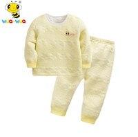 Wuawua Brand 2 Pcs Baby Underwear Set High Quality Long Sleeve Cotton Shirt Pullover New Born