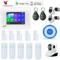 YobangSecurity WI FI GSM сигнализация Системы пожарной сигнализации приложение Управление Сенсорный экран умный дом сигнализация Системы 433 мГц Alexa в