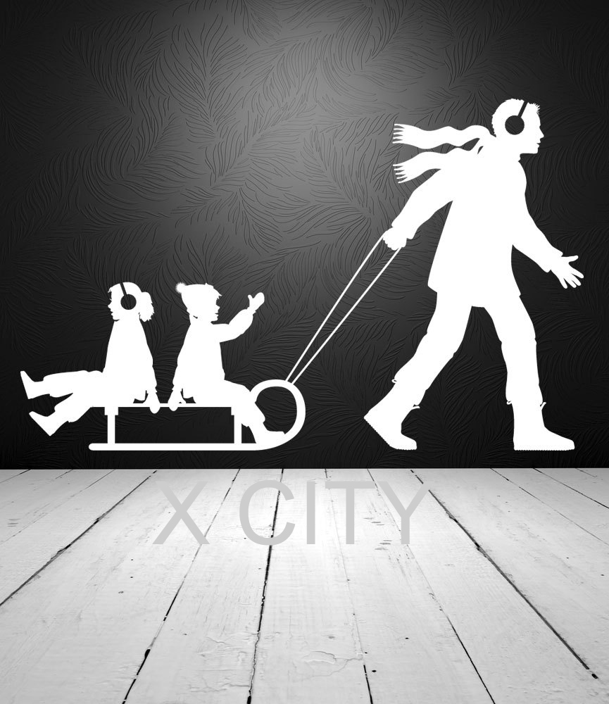 Winter Family Fun Dad Pulling Children on Sled Snow WALL ART STICKER VINYL DECAL DIE CUT KIDS ROOM NURSERY STENCIL HOME DECOR